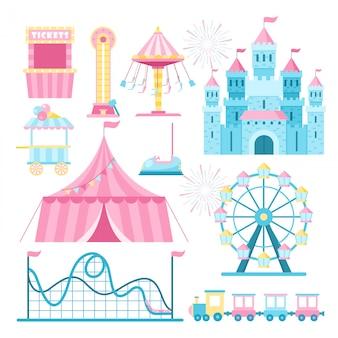 Parque de atracciones atracciones planas ilustraciones conjunto. rueda de la fortuna de dibujos animados, montaña rusa y taquilla. recinto ferial, paquete de elementos de diseño de feria. carpa de circo, alto delantero, quiosco de helados.