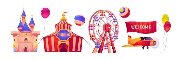 Parque de atracciones de carnaval con carpa de circo y noria
