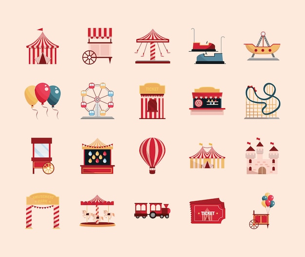 Parque de atracciones carnaval carpa stand juego boleto rueda carrusel montaña rusa ilustración