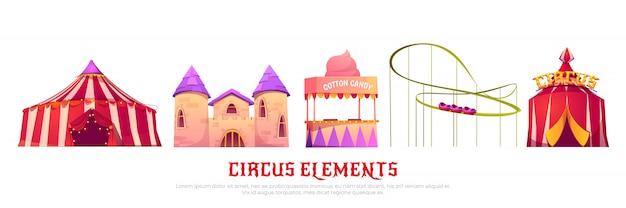 Parque de atracciones de carnaval con circo y montaña rusa