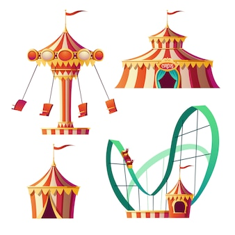 Parque de atracciones, carnaval o feria festiva de dibujos animados
