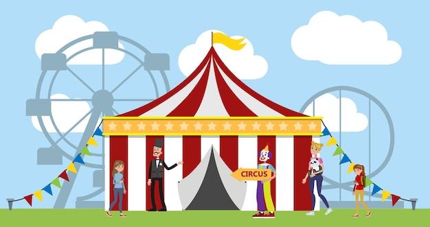 Parque de atracciones con carpa de circo, payasos y carruseles al fondo. los niños y sus padres se divierten en el parque. paisaje urbano de verano. ilustración