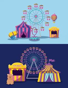 Parque de atracciones con carpas de circo e iconos.