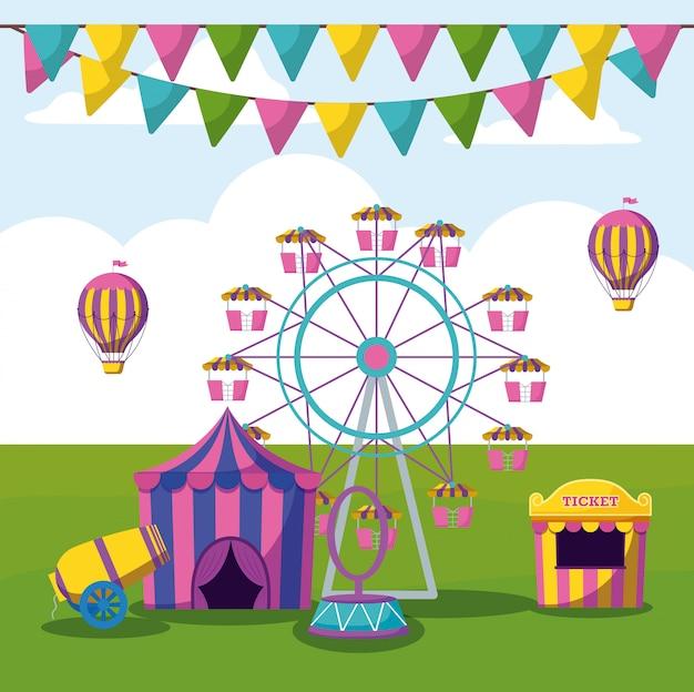 Parque de atracciones con carpas de circo.