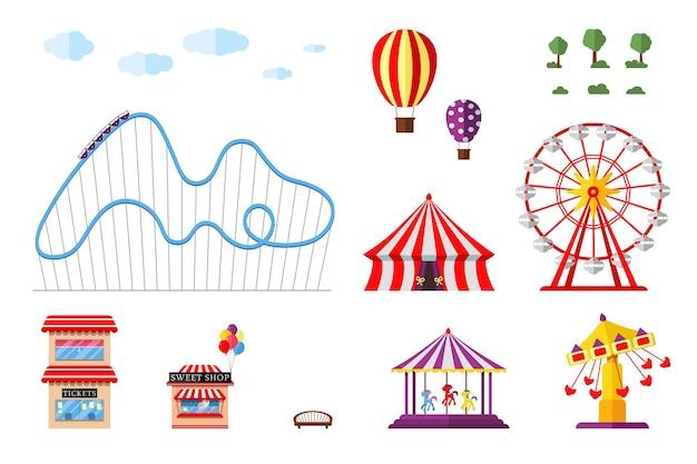Parque de atracciones, carrusel de circo, montaña rusa y atracciones.feria de atracciones y paisaje temático de carnaval.
