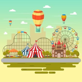 Parque de atracciones circo carnaval festival diversión feria paisaje ilustración