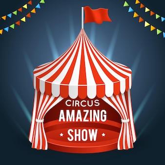Parque de atracciones de circo con carpa para una increíble ilustración de espectáculo