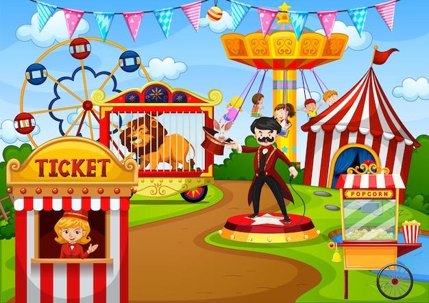 Parque de atracciones con circo en escena de estilo de dibujos animados