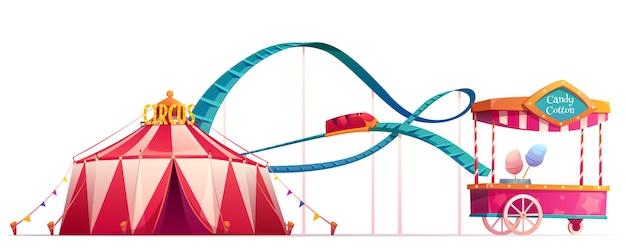 Parque de atracciones con circo y montaña rusa