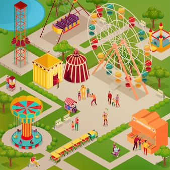Parque de atracciones con circo y varias atracciones comida callejera adultos y niños ilustración isométrica