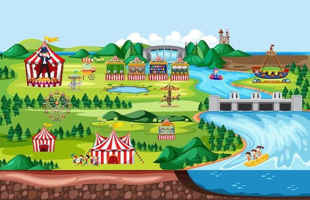 Parque de atracciones con circo