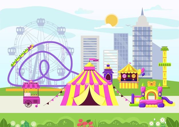 Parque de atracciones de la ciudad con circo.