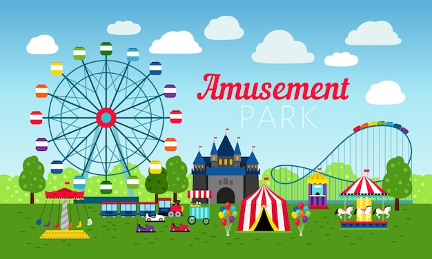 Parque de atracciones colorido