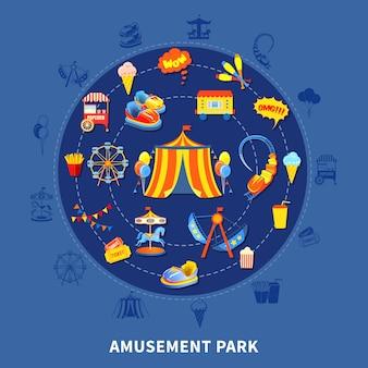 Parque de atracciones conjunto ilustración vectorial