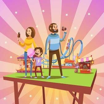Parque de atracciones de dibujos animados concepto con familia feliz y atracciones en el fondo retro