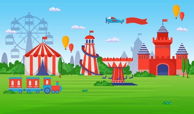 Parque de atracciones y entretenimiento. ilustración plana
