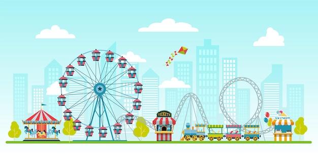 Parque de atracciones en el fondo del paisaje urbano con quiosco de taquilla con helado noria