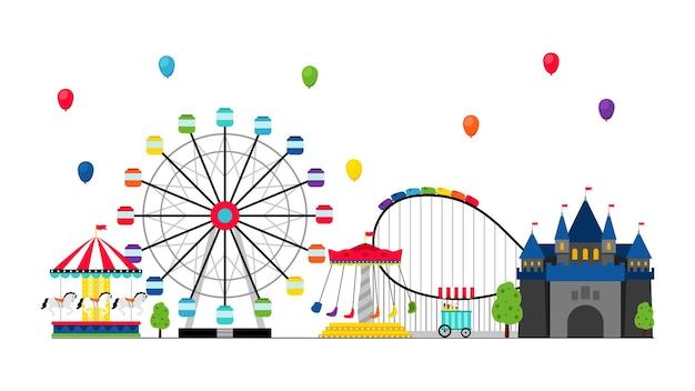 Parque de atracciones con globos en el cielo