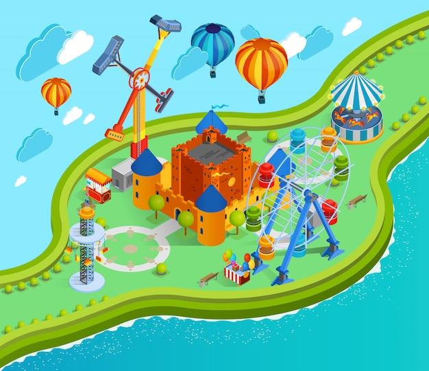 Parque de atracciones ilustración isométrica