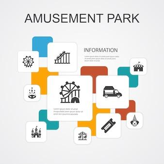 Parque de atracciones, infografía, 10, línea, iconos, template., rueda de la fortuna, carrusel, montaña rusa, carnaval, simple, iconos