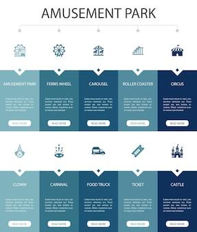 Parque de atracciones infografía 10 opción diseño de interfaz de usuario rueda de la fortuna, carrusel, montaña rusa, carnaval iconos simples