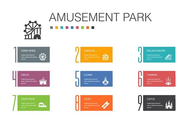 Parque de atracciones, infografía, 10, opción, línea, concept., rueda de la fortuna, carrusel, montaña rusa, carnaval, simple, iconos