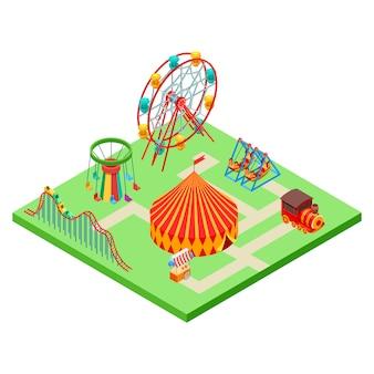 Parque de atracciones isométrica
