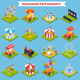 Parque de atracciones isométrico
