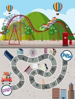 Parque de atracciones laberinto plantilla de juego