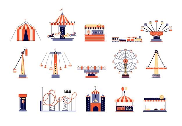 Parque de atracciones. parque recreativo divertido, diversiones y carruseles. atracciones para niños, montaña rusa y noria.