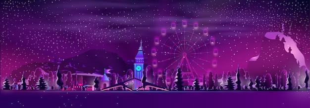 Parque de atracciones en vector de dibujos animados de invierno resort