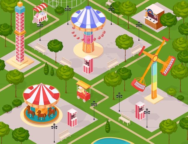 Parque de atracciones de verano para niños
