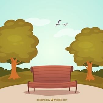 Parque con banco de madera