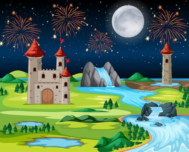 Parque del castillo de noche temática con fuego artificial y escena de paisaje de globos