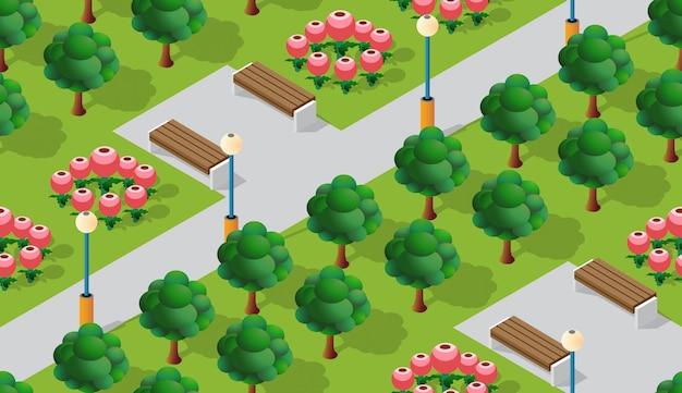 Parque de la ciudad con árboles de césped.