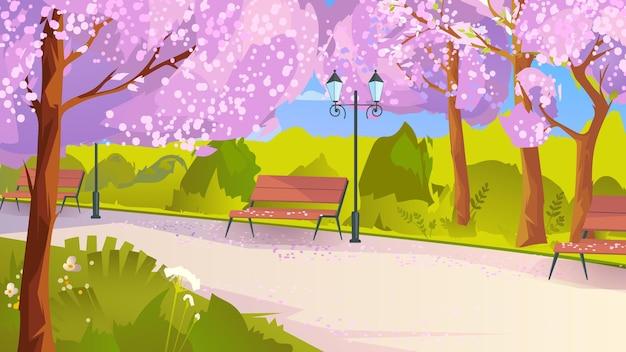 Parque de la ciudad con árboles de sakura en flor en estilo de dibujos animados planos
