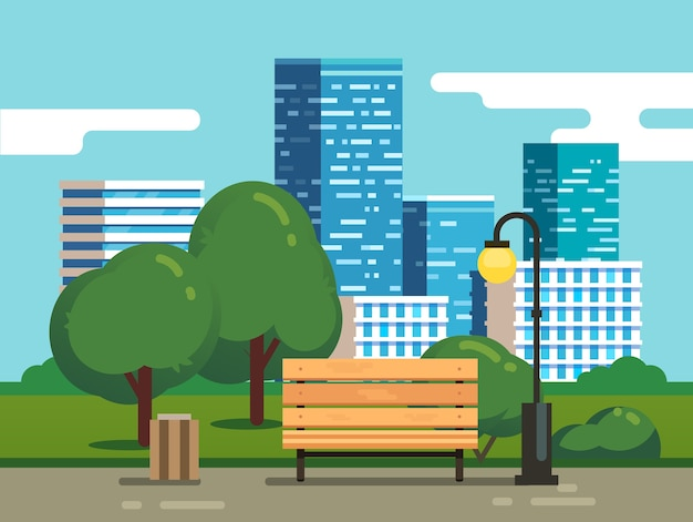 Parque de la ciudad con el banco y los rascacielos del centro