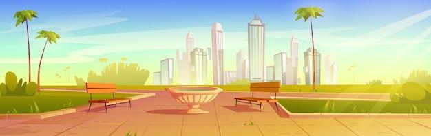 Parque de la ciudad con bancos y macetas paisaje de verano paisaje urbano lugar público vacío para caminar y recreación con césped verde palmeras y césped jardín urbano ilustración de dibujos animados