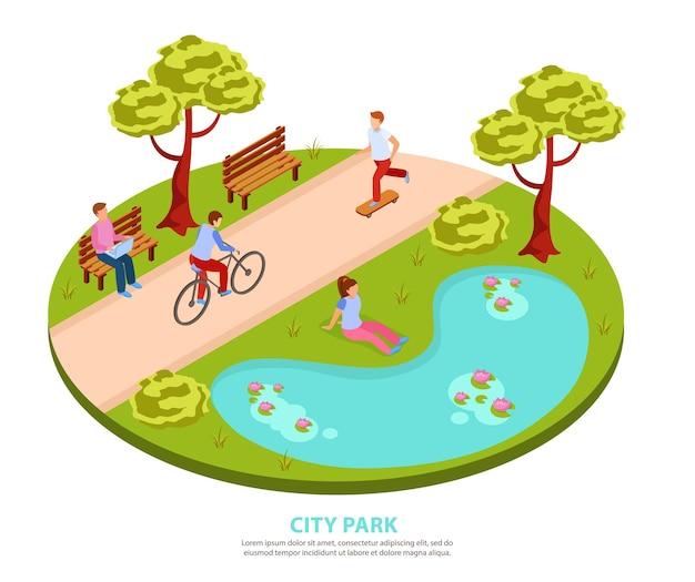 Parque de la ciudad composición isométrica redonda con personas que andan en monopatín en bicicleta trabajando en una computadora portátil sentada junto a un estanque