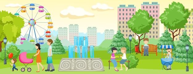 Parque de la ciudad con gente de banner gente caminando y divirtiéndose en el parque junto a edificios residenciales