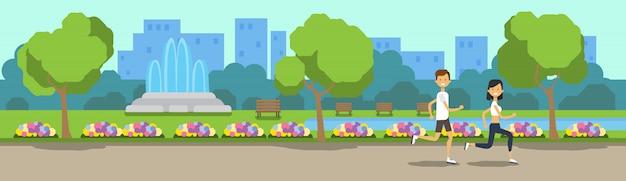 Parque de la ciudad hombre mujer actividades corriendo verde césped flores fuente árboles paisaje urbano plantilla fondo bandera plana