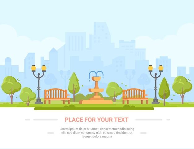 Parque de la ciudad - ilustración vectorial moderna con lugar para el texto. paisaje urbano con rascacielos, centro de negocios en el fondo. zona de recreo con gran fuente, bancos, linternas, árboles.