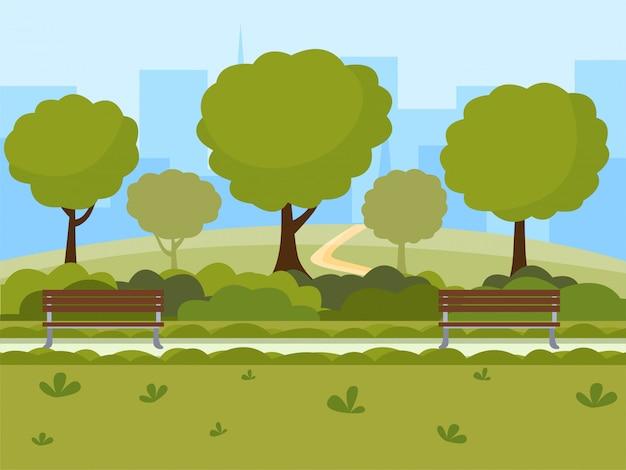 Parque de la ciudad, ilustración vectorial plana. ocio al aire libre en la naturaleza lugar público, árboles verdes, bancos de madera