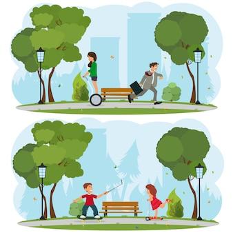 En un parque de la ciudad, los niños viajan en patineta y scooter.