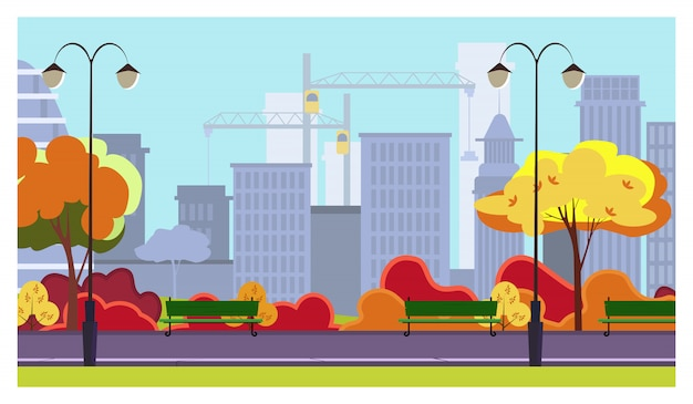 Parque de la ciudad de otoño con árboles, arbustos, bancos, linternas