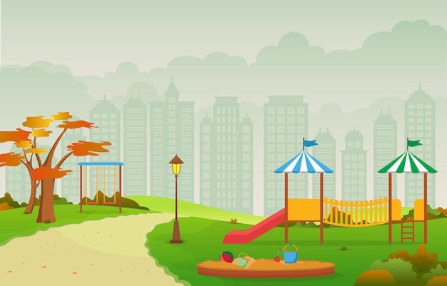 Parque de la ciudad en otoño otoño con ilustración de equipo de juegos infantiles