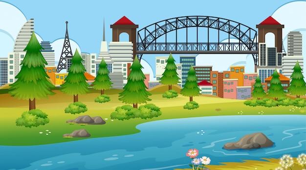 Parque en ciudad con río