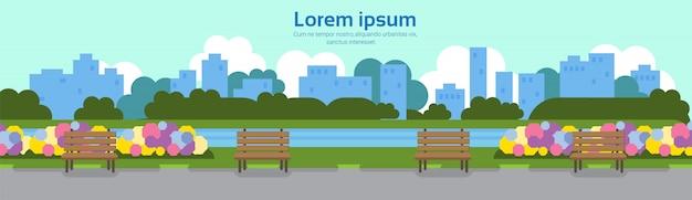 Parque de la ciudad vista banco de madera verde césped río flores fuente árboles sityscape plantilla fondo banner copia espacio plano