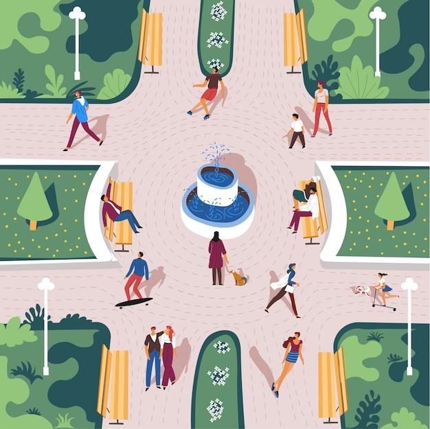 Parque con ciudadano en verano, vista desde arriba
