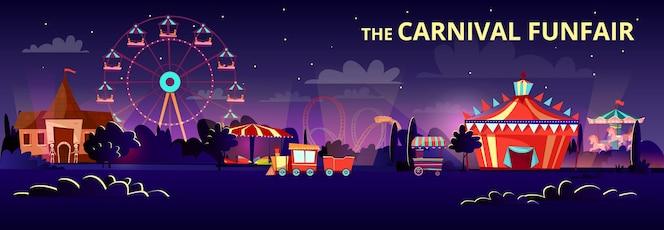 Parque de atracciones de feria de feria en la noche o la noche con paseos de dibujos animados.